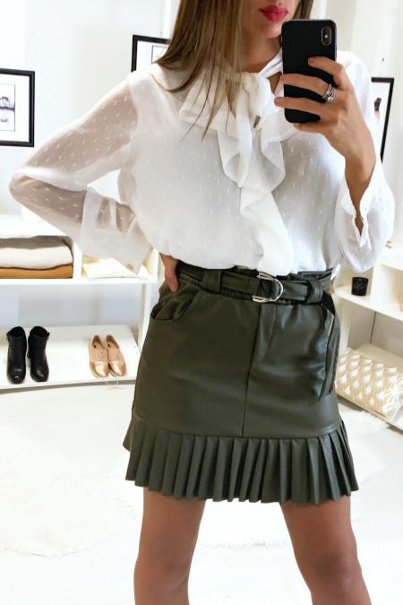 Jolie jupe kaki très tendance en simili avec ceinture plis et poche