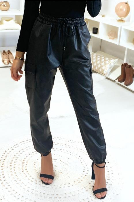 Pantalon simili style treillis avec poche sur les cotés