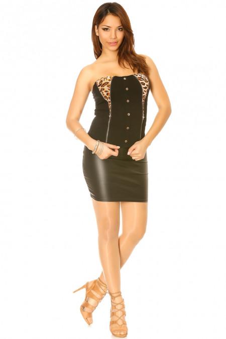 Zwarte top met luipaardknopen en gouden sluiting. Sexy mode 1806