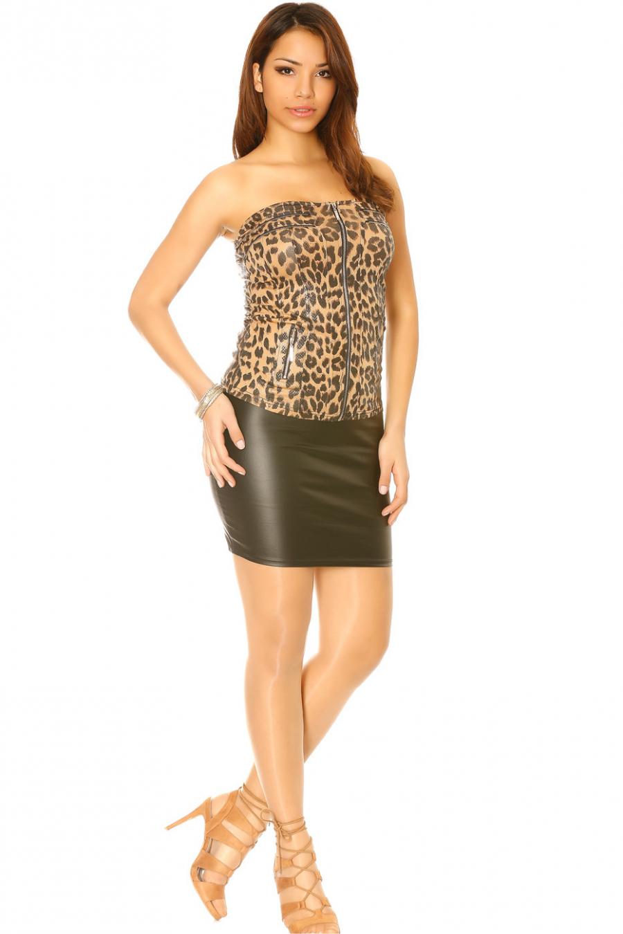 Haut motif Léopard choco avec fermeture devant. Mode femme sexy 28511