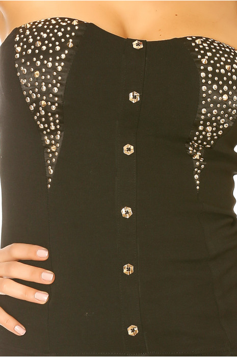 Beautiful black top with buttons and rhinestones. Top woman fashion and sexy 1896