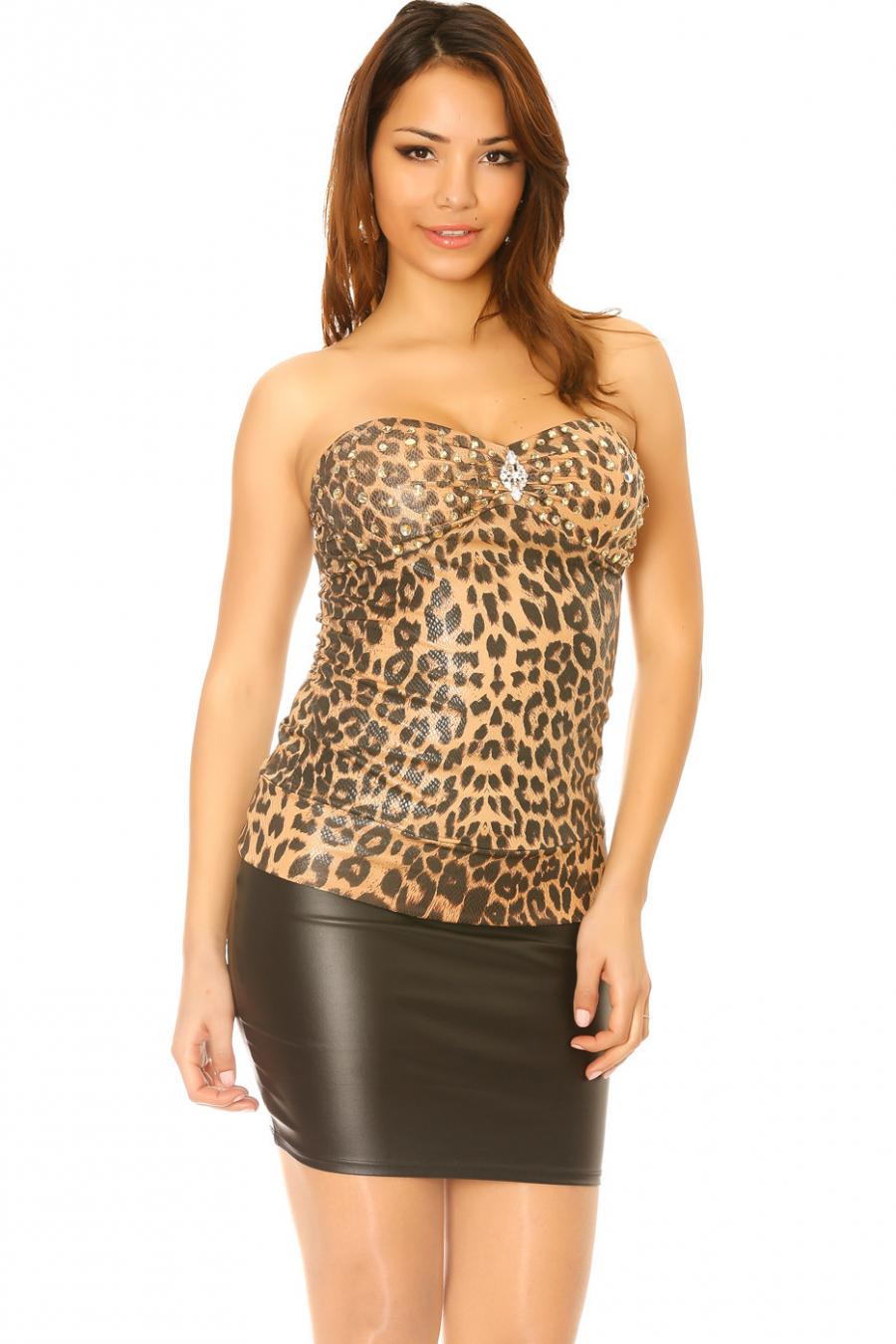 Bustier brillant en choco motif léopard avec strass au buste. Bustier 28393