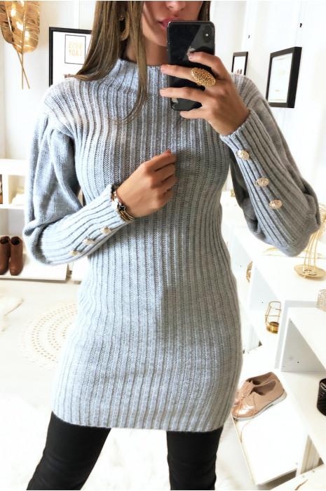 Pull tunique gris col montant avec manche plissé avec des boutons