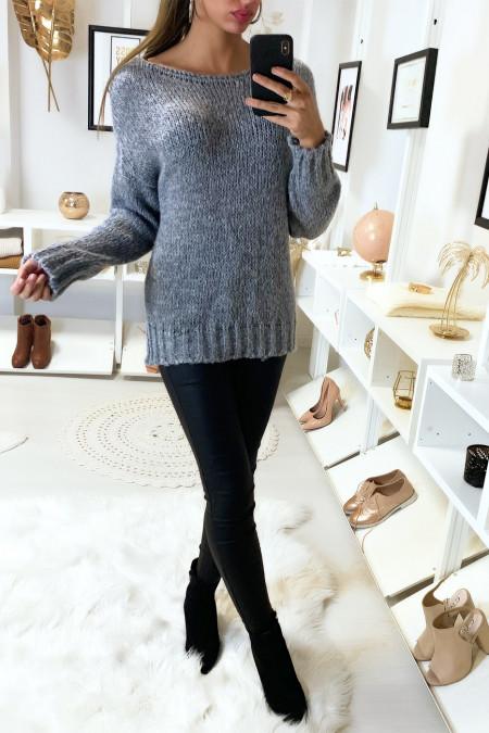 Mooie, hele zachte grijze sweater van mohair