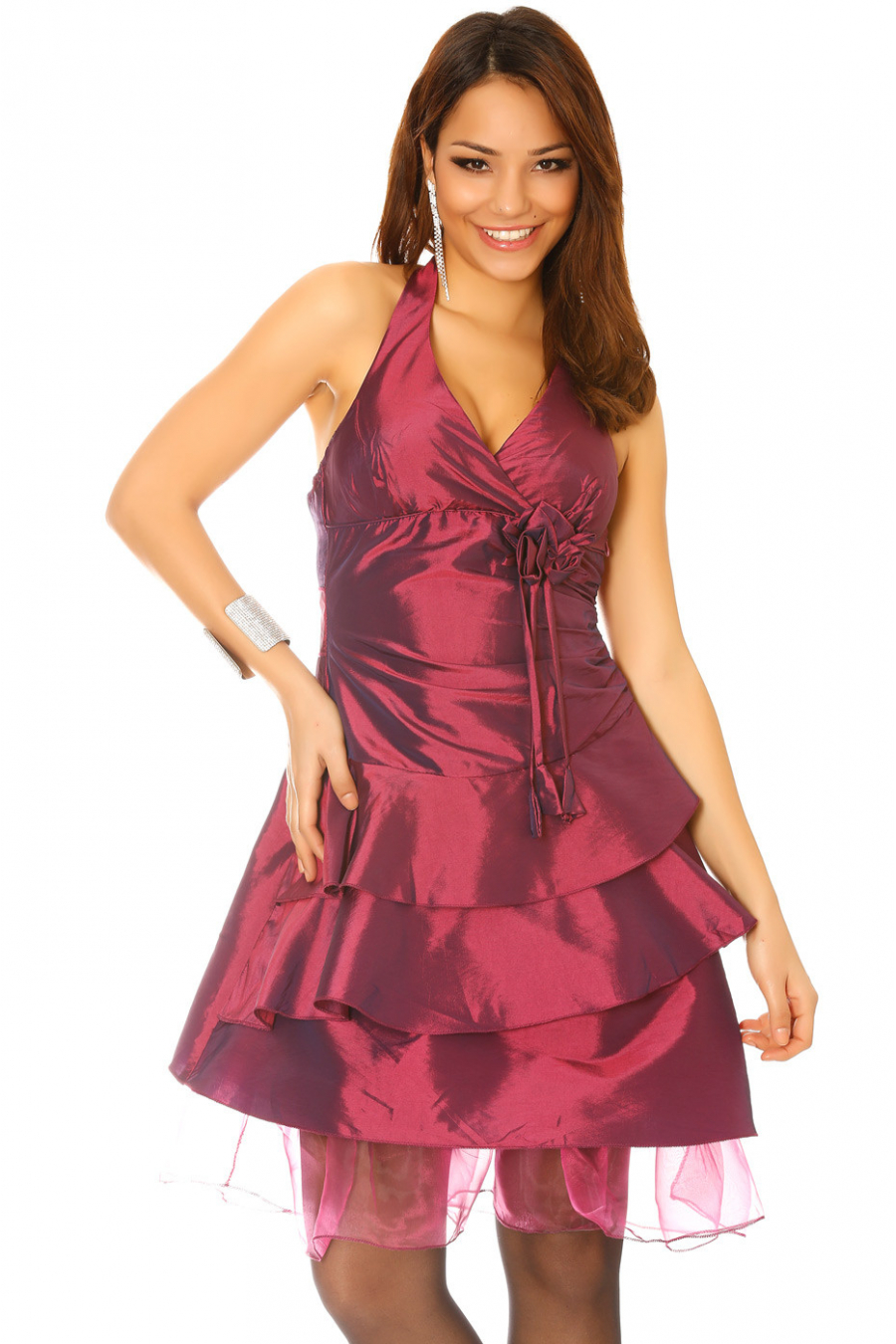 Cocktail dress, elegance in plum colored satin 0081