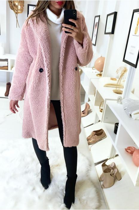 Long manteau rose bien chaud avec poches