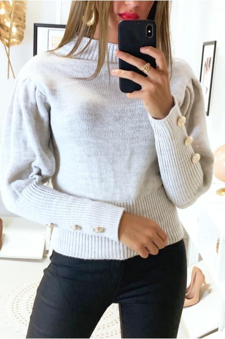 Mooie grijze sweater met hoge kraag pofschouders en knoopjes op de mouwen