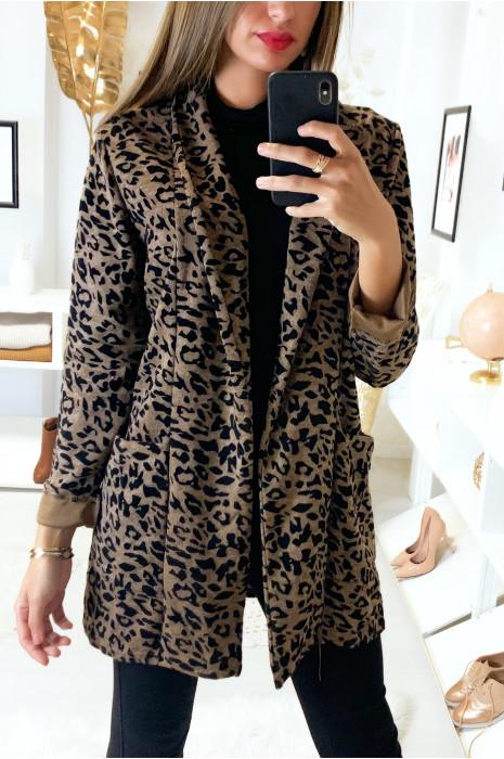 Veste blazer marron motif léopard avec col revers et poches