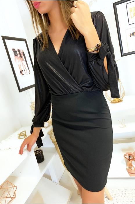 Magnifique robe noir croisé et brillant au buste avec ouverture aux manches s