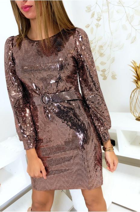 Sublime robe de soirée doré entièrement pailleté avec ceinture