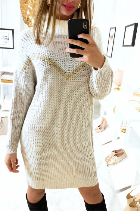 Long pull col roulé blanc et beige avec bande doré