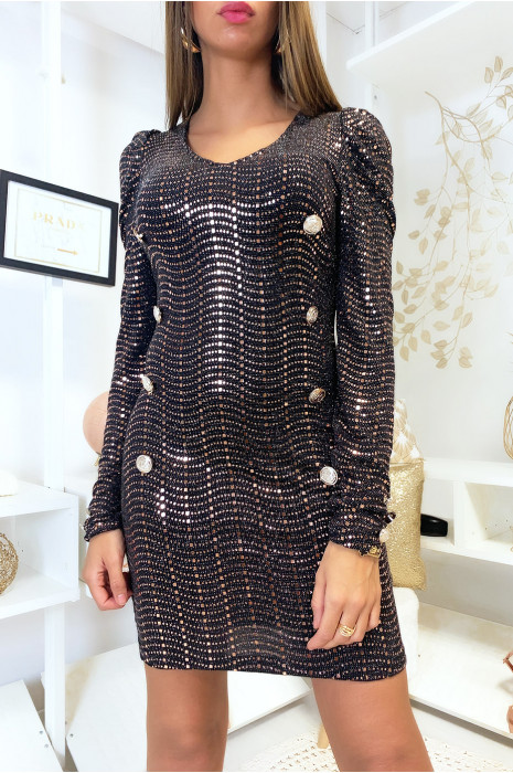 Jolie robe noir avec boutons et paillette marron