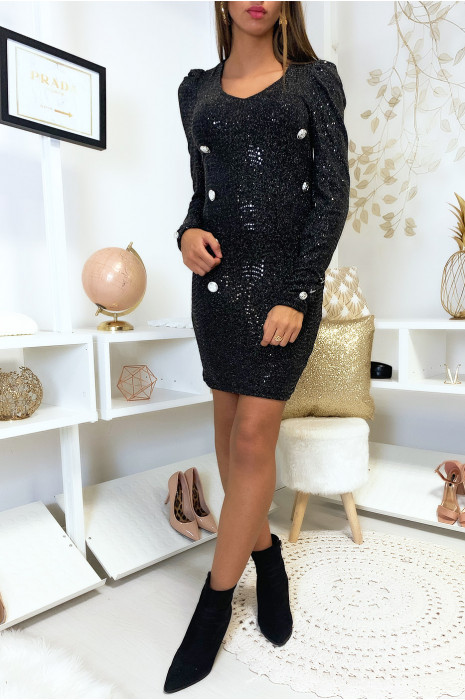 Jolie robe noir avec boutons et paillette noir