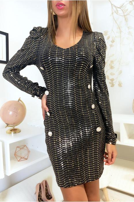 Mooie zwarte jurk met knoopjes en gouden pailletten