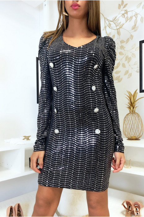 Jolie robe noir avec boutons et paillette argenté