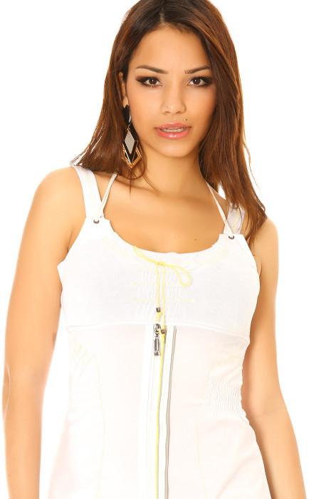 Robe à bretelles blanche et à fermeture éclaire jaune, 923