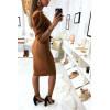 Jolie robe croisé camel avec épaules bouffante et ceinture