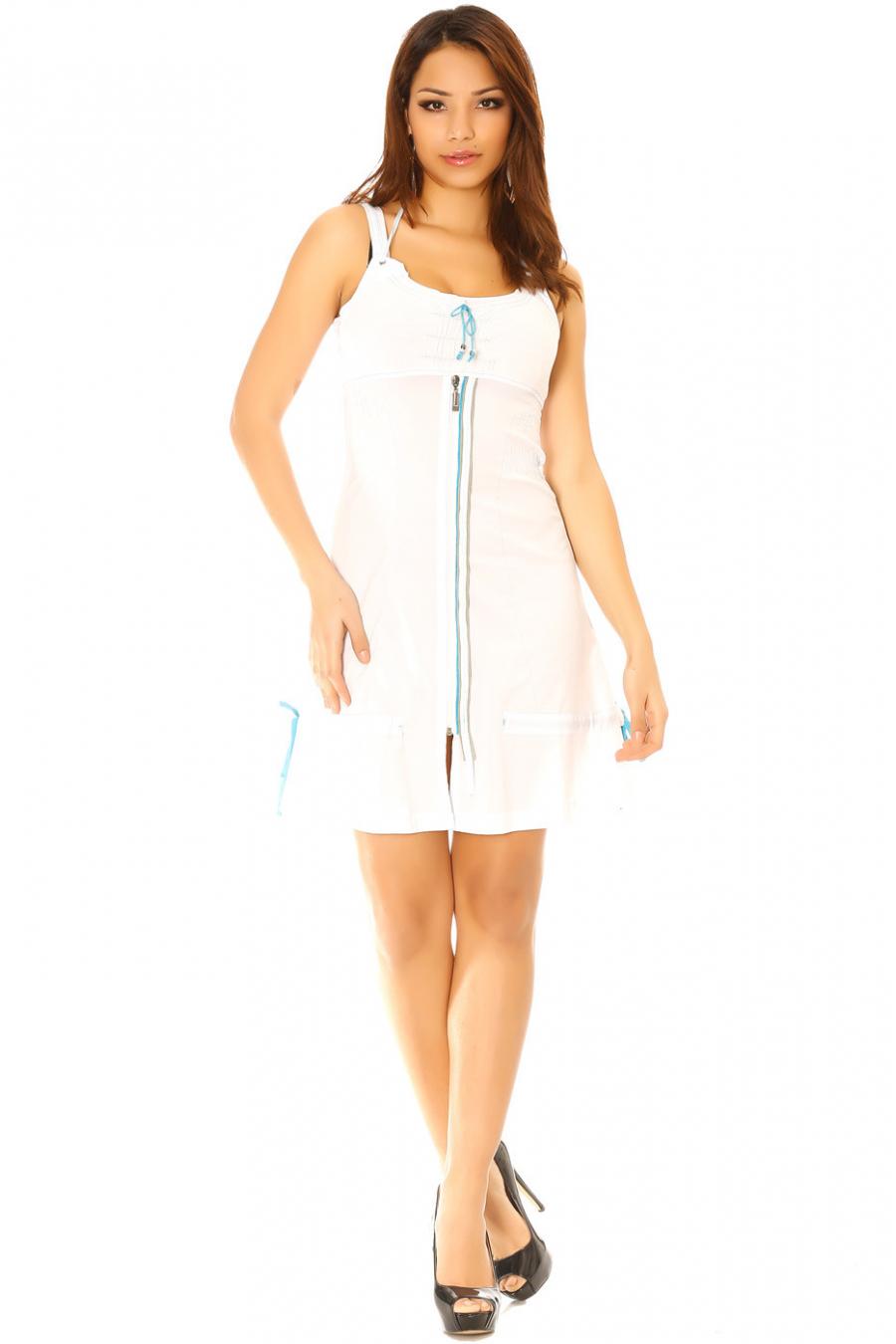 Dress with white straps and turquoise blue zipper, 923