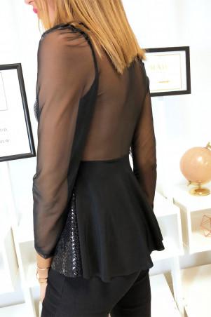 Mooie blouse met volant met zwarte chiffon aan de bovenkant en gouden strass steentjes in de vorm van een bustier