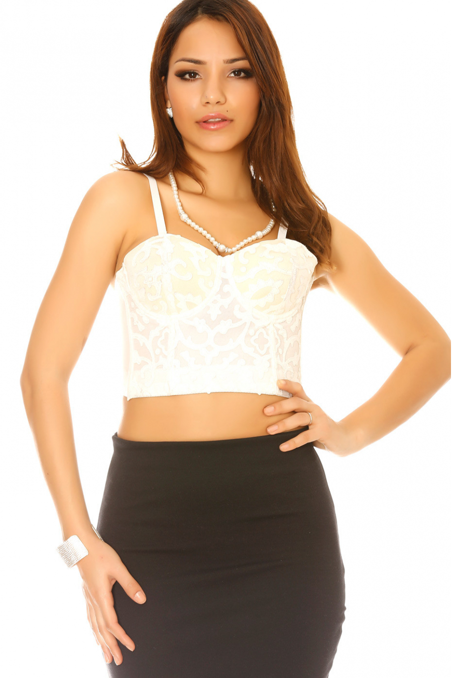 White croc-top with relief patterns. FL-002
