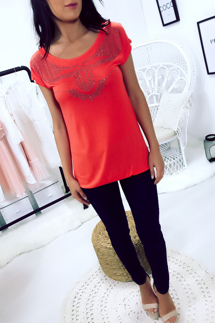 Beautiful Coral top with rhinestone pattern and neckline in the back. Super trendy. SW201341