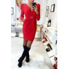 Magnifique robe rouge croisé avec épaules bouffantes, anneaux et poches