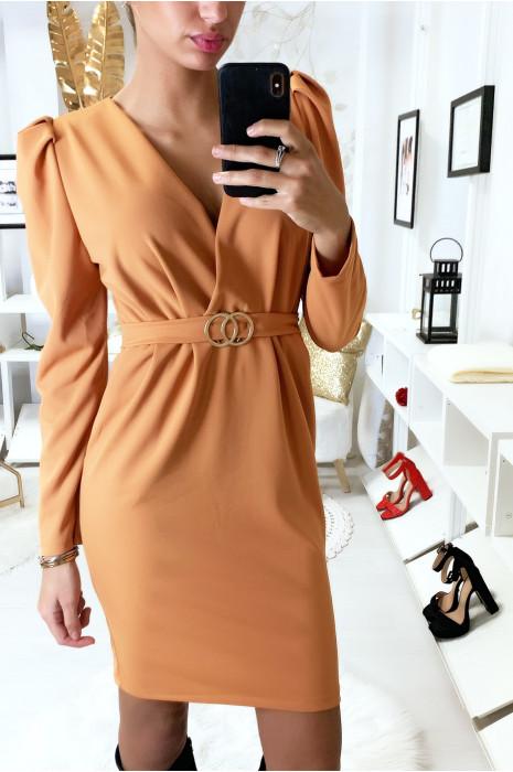 Magnifique robe moutarde croisé avec épaules bouffantes, anneaux et poches