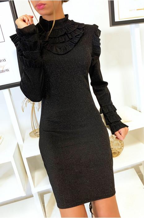 Robe brillante en noire avec froufrou au col aux épaules et aux manches