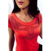 Magnifique top Corail avec motif en strass et encolure dans le dos. Super tendance. SW201341
