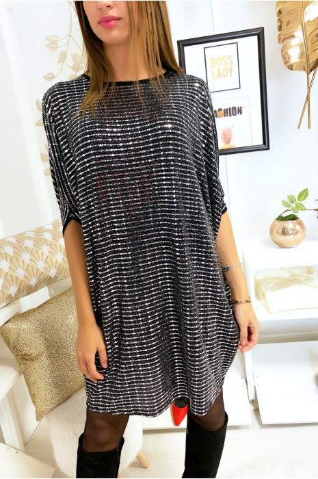 Magnifique robe tunique ample pailleté en noir et argenté
