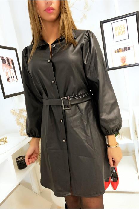 Robe chemise noir avec ceinture en simili extensible