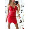 Sublime robe croisé en simili extensible rouge