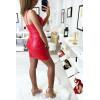Sublime robe croisé en simili extensible rouge