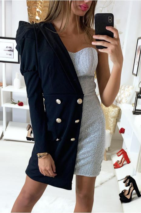 Robe veste asymétrique 2 en 1 très mode en noir et argenté