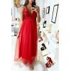 Longue robe bustier rouge à paillette avec jupe en voile doublé