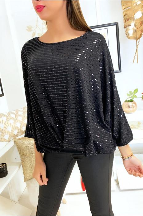 Jolie blouse ample pailleté noir avec plis devant