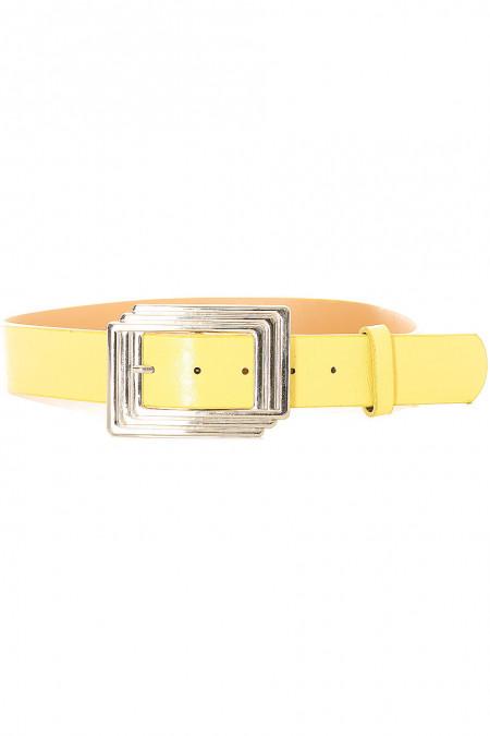 Gele damesriem met rechthoekige gesp. SG0218