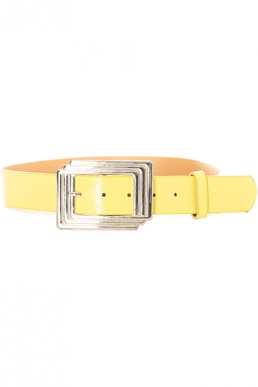 Women's belt in yellow with rectangular buckle. SG0218