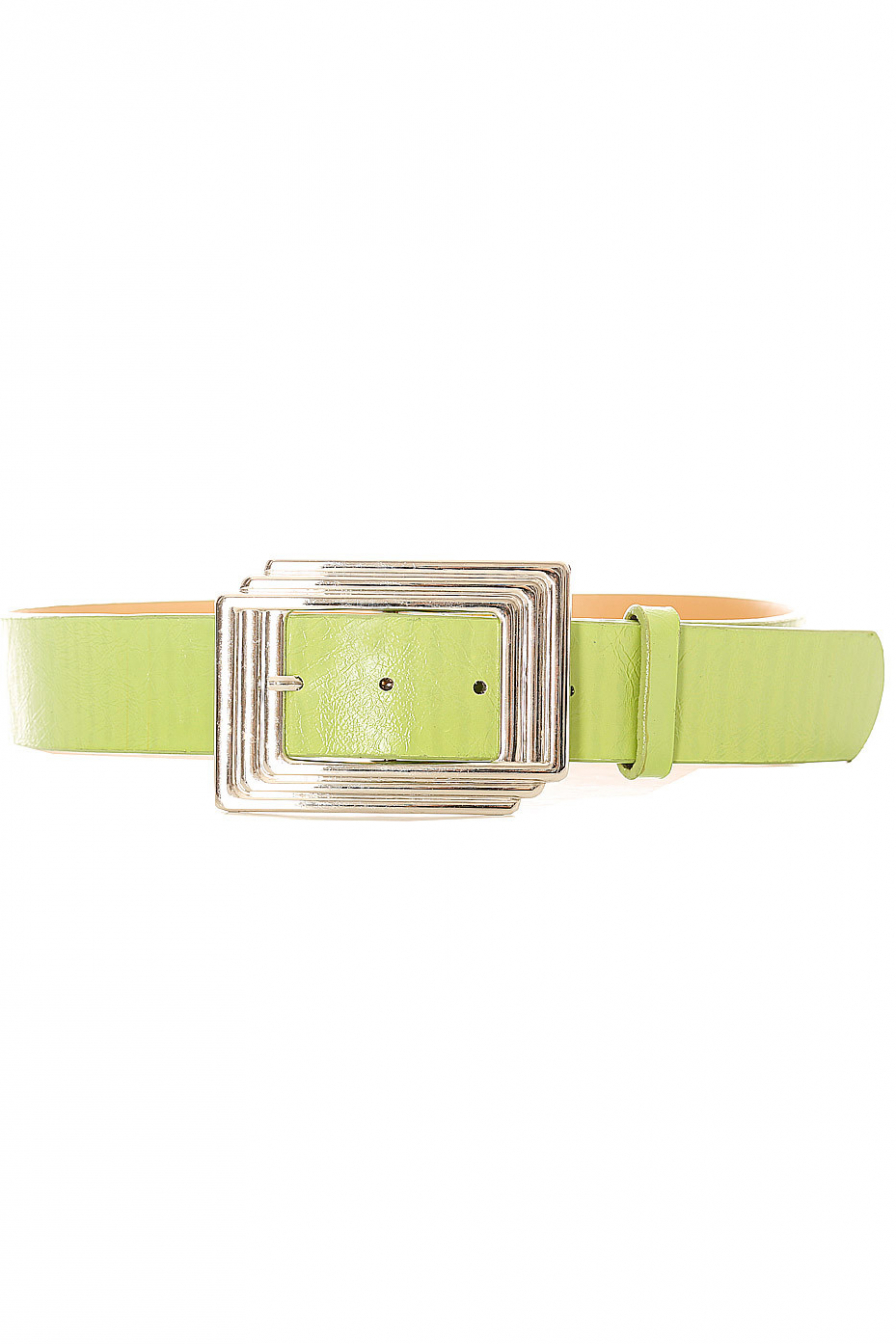 Women's belt in green with rectangular buckle. SG0218