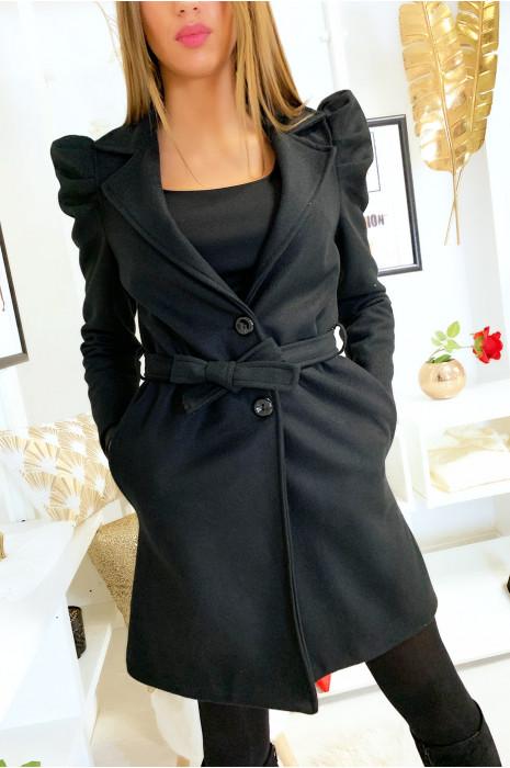 Jolie veste noir épaules bouffante avec ceinture et poches