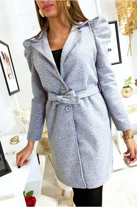Jolie veste grise épaules bouffante avec ceinture et poches