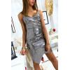 Sublime robe de soirée croisé et asymétrique en paillette argenté
