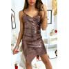 Sublime robe de soirée croisé et asymétrique en paillette doré