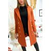 Long manteau blazer cognac avec poches et boutons
