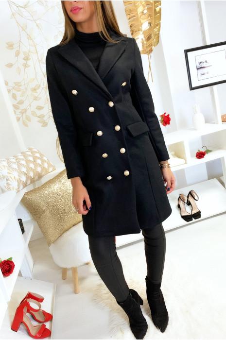 Long manteau blazer noir avec poches et boutons
