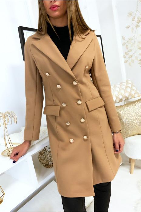 Long manteau blazer camel avec poches et boutons