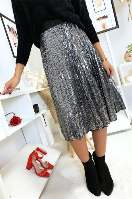 Magnifique jupe plissé 3/4 pailleté en argenté