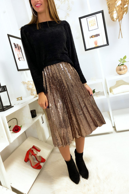 Magnifique jupe plissé 3/4 pailleté en doré