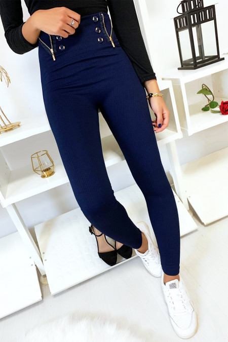 Navy ribbed leggings fleece inside with buttons and closure. 7077
