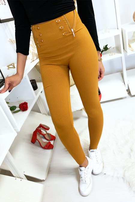 Mustard ribbed leggings fleece inside with buttons and closure. 7077